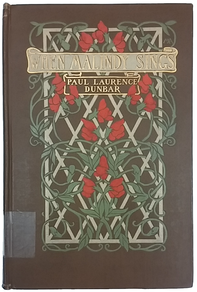 "Cover of ""When Malindy Sings"" with brown background and red flowers climbing up a white trellis."