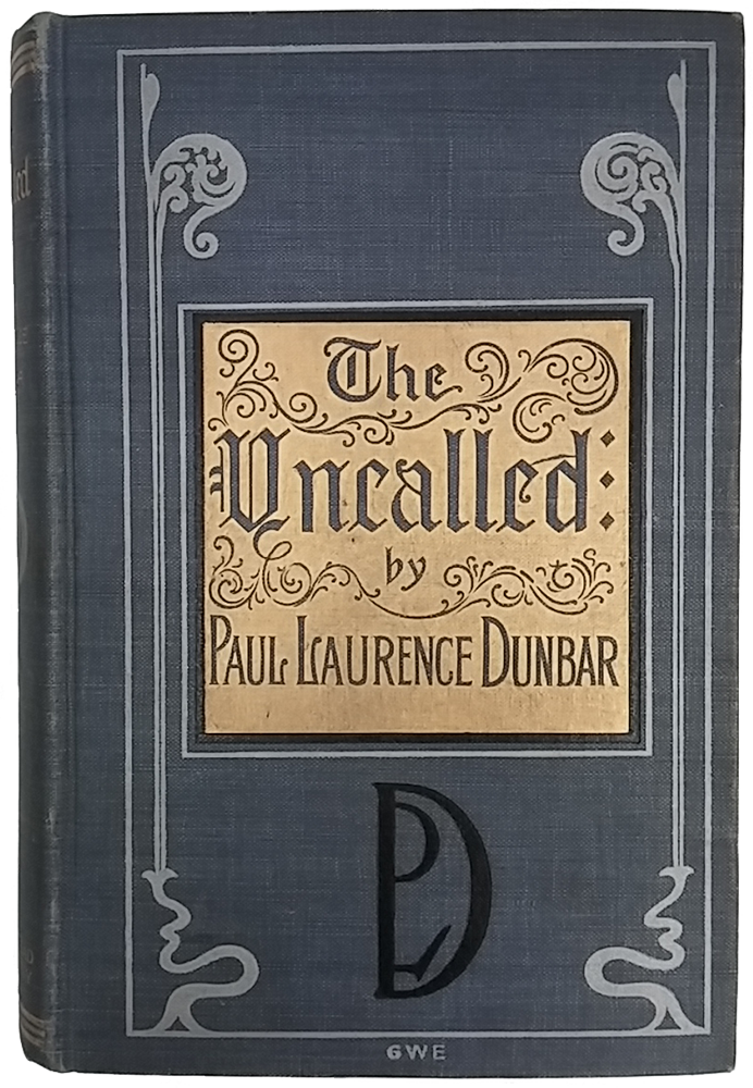 "Cover of ""The Uncalled"" by Paul Laurence Dunbar. Dark blue background with gray Art Deco ornaments along left and right sides, gold metallic background behind title and author, and stylized author's monogram in black."